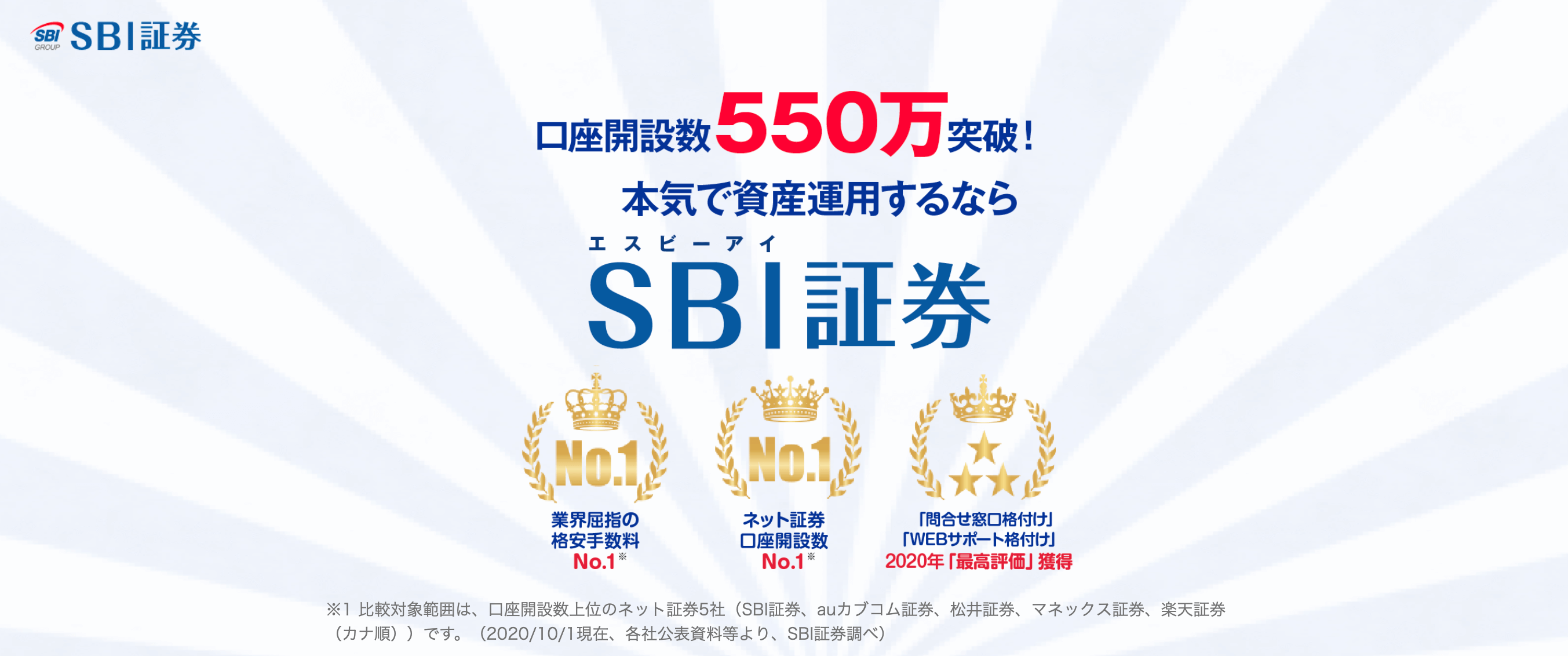 SBI証券のLP画像